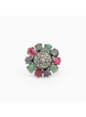 RING WITH ONYX, RUBIES AND EMERALDS