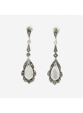 STERLING SILVER MOTHER OF PEARL AND MARCASITE EARRINGS